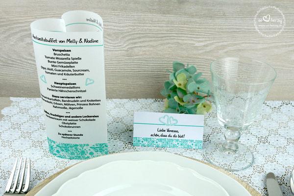 Menü/Getränkekarte  & Platzkarte Design Spitzenband, Farbe Mint - Sonderanfertigung