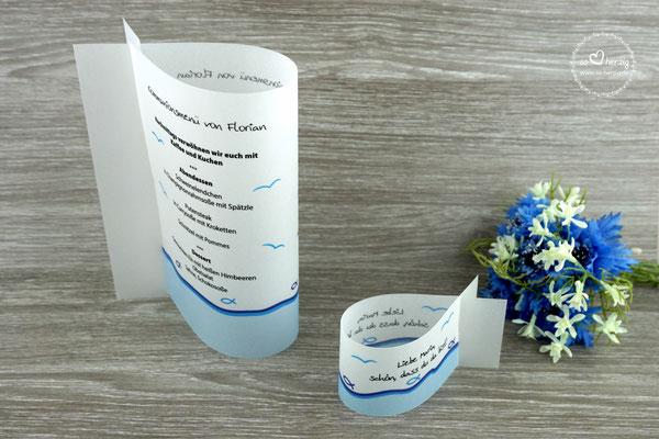 Menükarte Fischform Design Fisch Silhouette in Royalblau/Aqua