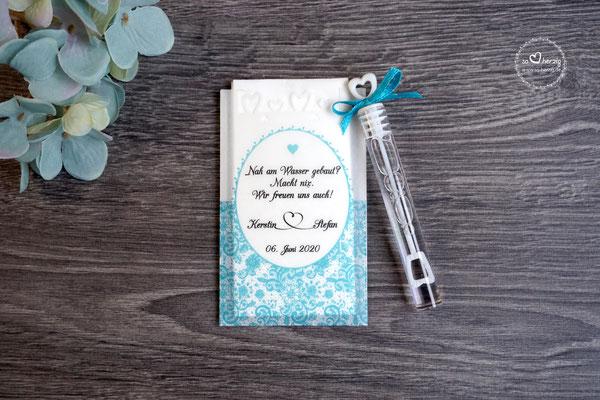 Freudentränen Taschentücher flach mit Bubbles und Herzrand, Design Romantik Türkis dunkel - Schrift CAC Champagne