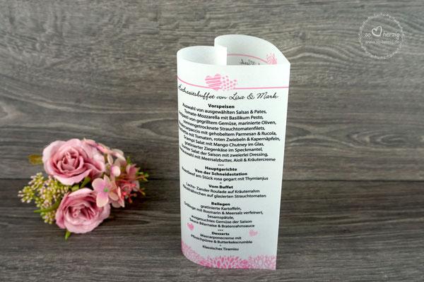 """Menükarte Herzform 17cm, Design """"zwei Herzen"""" rosa Schrift Bickley Script com"""