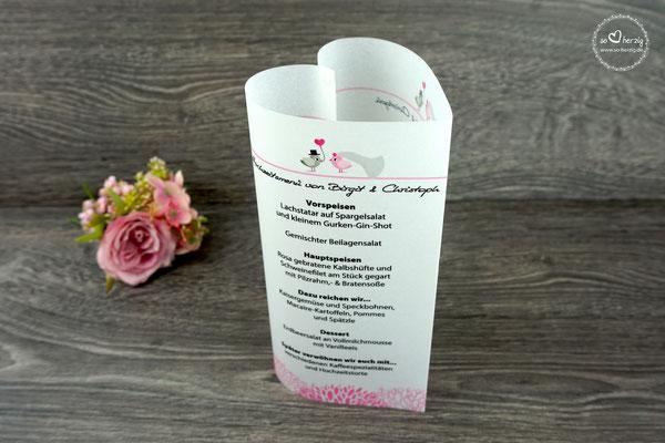 Menükarte Herzform 17cm Design Design Hochzeitsvögel auf Ast