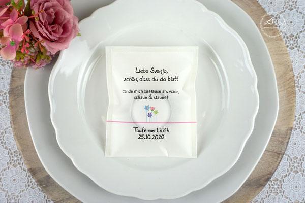 Teelicht-Botschaft Design Blumenwiese Rosa