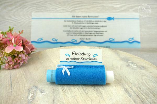 Einladungskarte Design Fisch Silhouette/Wellenrand/Filz Blau - mit Schleife
