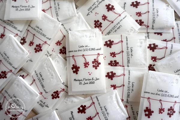 Freudentränen Taschentücher Design Puzzleteile mit Herzrand - Sonderwunsch Design & Text