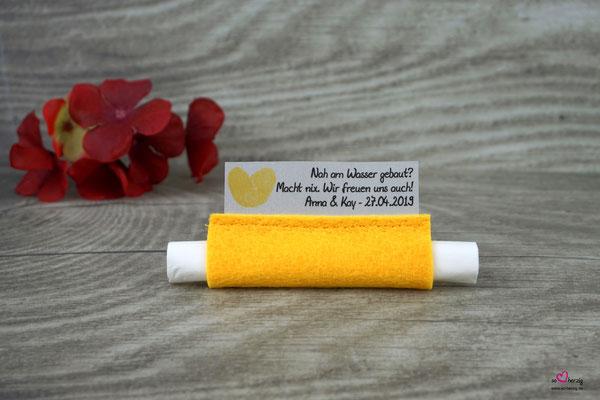 Freudentränen Taschentücher Filz gelb, Design  Fingerprint