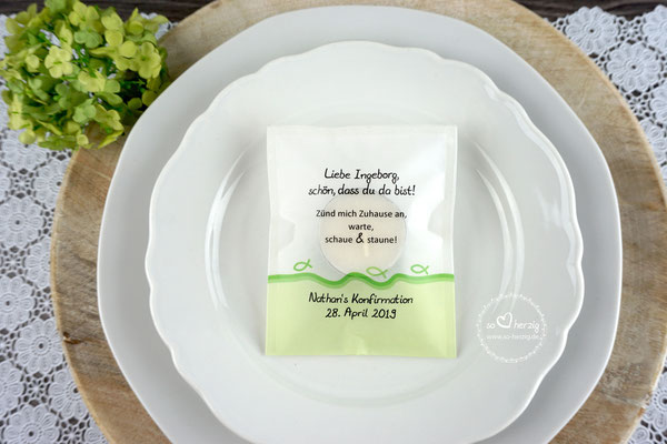 Teelicht-Botschaft Kommunion/Konfirmation personalisiert, Design Fisch Silhouette Apfelgrün - Sonderwunsch Rand unten grün
