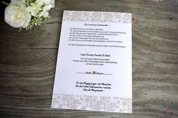 Kirchenheft Rückseite - Hochzeit Steffi & Stephan