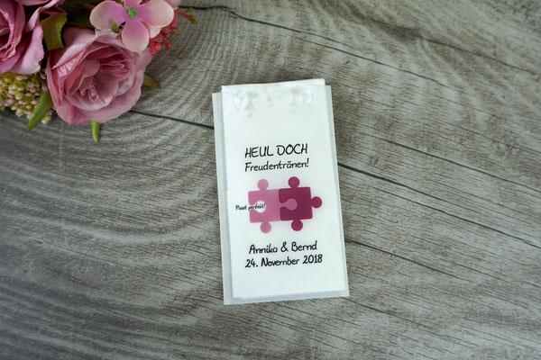 Freudentränen Taschentücher flach aus Pergamentpapier, Design Puzzle, Beere & Rosenholz, mit Herzrand - Sonderanfertigung Farben