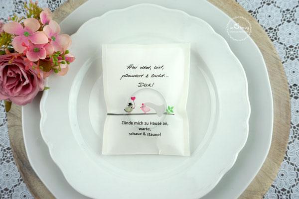 Teelicht-Botschaft Design Hochzeitsvögel Graubraun/Rosa