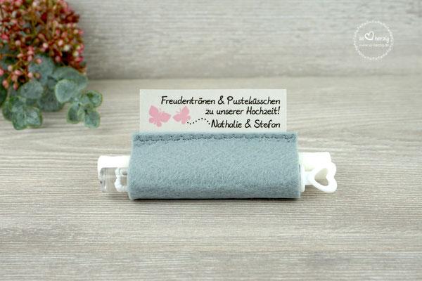 Freudentränen Taschentücher aus Filz Grau mit Weddingbubbles, Design Schmetterlinge Puderrosa