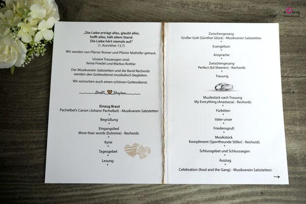 Kirchenheft Innenseite - Hochzeit Steffi & Stephan