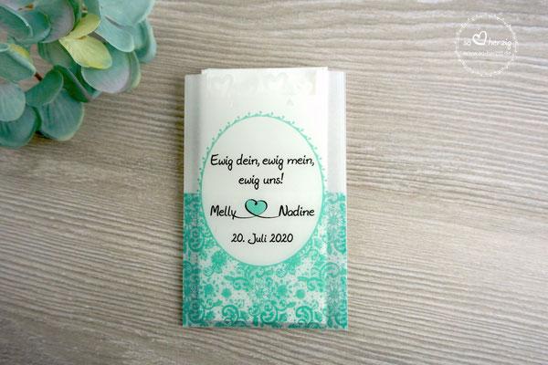 Freudentränen Taschentücher Design Romantik, Farbe Mint - Sonderanfertigung
