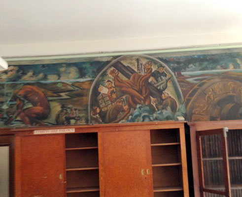 Even the mural was still on this classroom wall.