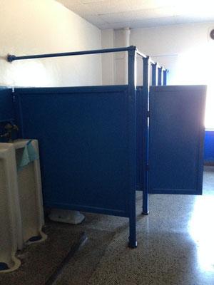 The boy's bathroom is still blue.