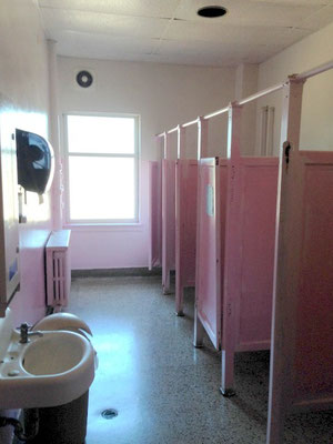 The girl's bathroom is still pink.