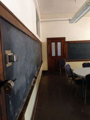 The classrooms still had the woodwork and blackboards.