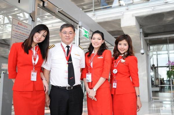 Die Crew der Thai AirAsia