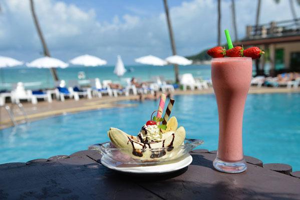 Phangan Bayshore - Banana Icecream und einen Cocktail zum relaxen