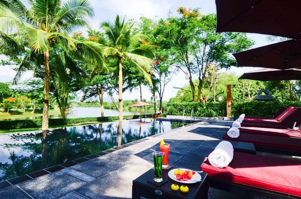 Der Hoteleigene Swimmingpool darf auch in Kanchanaburi nicht fehlen.