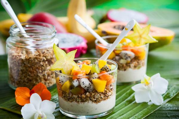 Frühstueck mit exotischen Früchten zum abnehmen