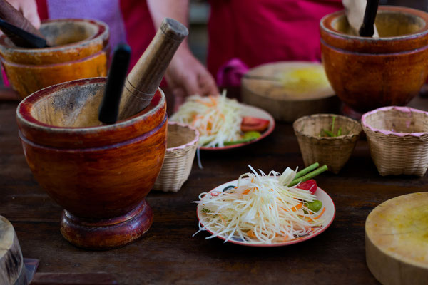 Papaya Som Tam Salad beim Kochkurs Thailand