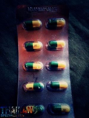 50mg Tramaldol. In Thailand wird es viel und einfach verkauft. Eine Tablette kostet zwischen 5 und 8 Baht. In Krankenhäusern sogar das 3 fache - je nach Markenname. Tramal Kpseln in Thailand sind immer gelb und grün.