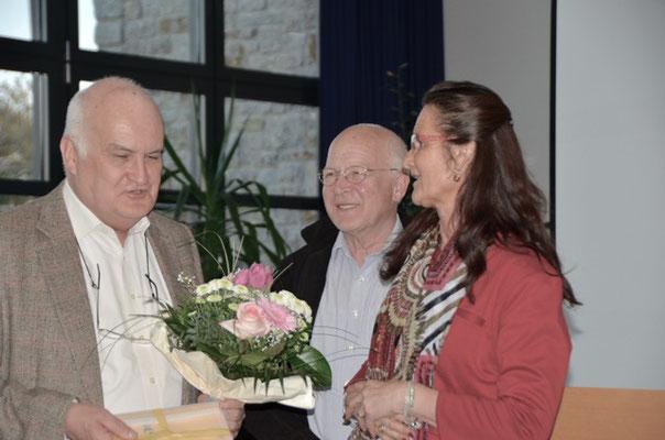 Ehrung von Christian Leyenberger (links) für 7jährige Arbeiit als Schatzmeister