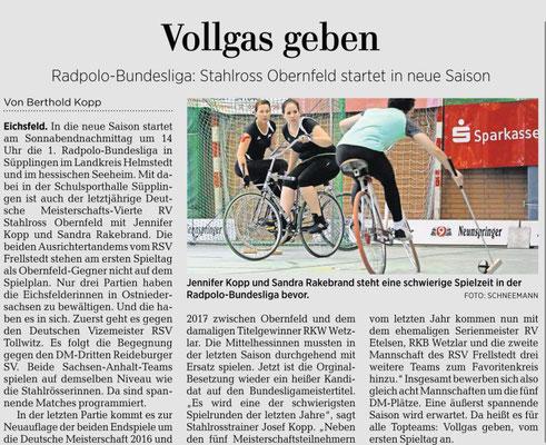 Göttinger-Tageblatt 18.01.2019, Radpolo-Bundesliga mit RV Stahlross Obernfeld