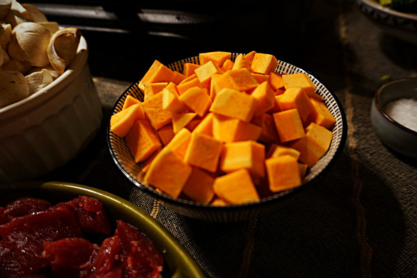 Süßkartoffeln für Wokpfännchen