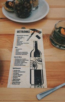 Getränkekarte - Eröffnung Feuerhand und Petromax Welt in Magdeburg