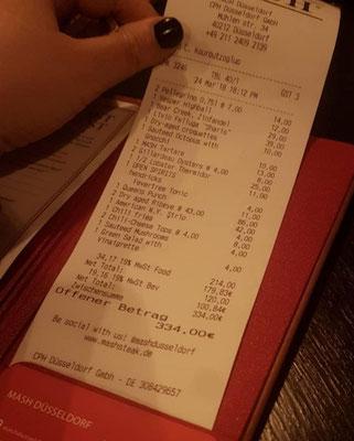 Rechnung Steakhouse Mash in Düsseldorf