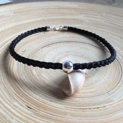 aus 6 Strängen rund geflochtene Halskette mit 925-Silber Kugel