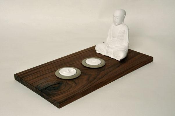 Nussbrett geölt inklusive Duftschale, Duftstein und Buddha, Brett: H x B x T: 1,5x41x21cm