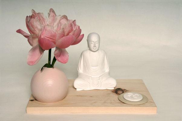 Zirbenbrett natur inklusive Duftschale, Duftstein und Buddha, Brett: H x B x T: 1,5x28x21cm