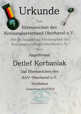 Ehren-Urkunde des KAV-Oberhavel e.V.