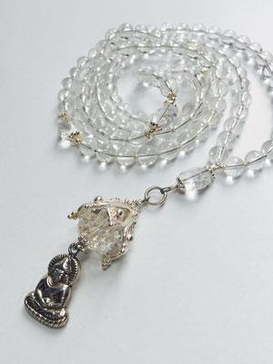Mala aus Bergkristall und Buddha