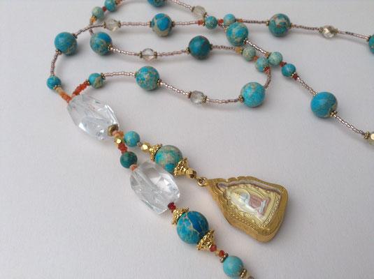 Tibet Gau Bergkristall vergoldet