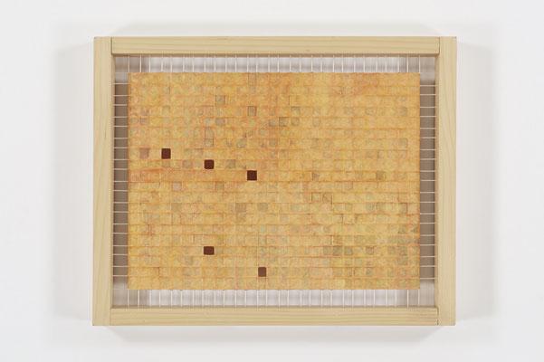 葉っぱ 40.0×50.0㎝(2010) kite strings,japanese paper,wood