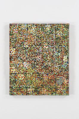 花の庭 45.5×38.0㎝(2010) nets,japanese paper,acrylic on board
