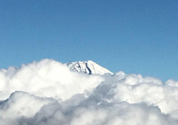 雲海か頭を出した富士山