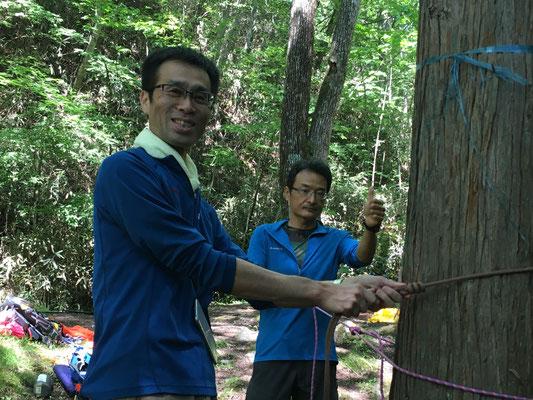 立ち木にロープを結ぶ