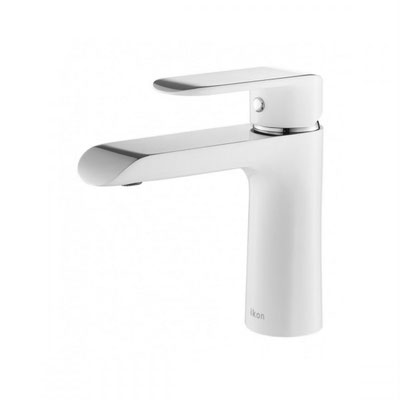 HYB11-201CW Kara Bathroom White Chrome Basin Mixer