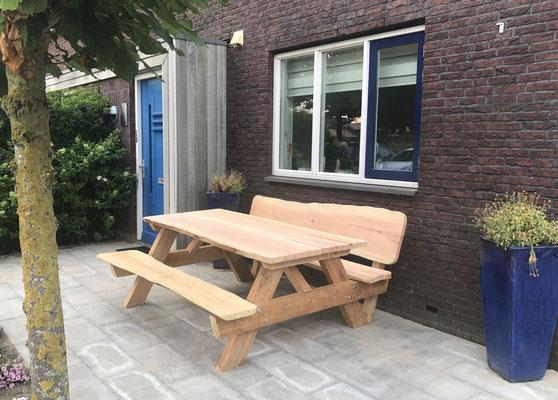 picknicktafel met 1 rugleuning van Douglas hout