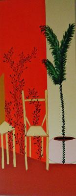 Salle d'attente Acrylique sur toile 100x40cm. Disponible - Available