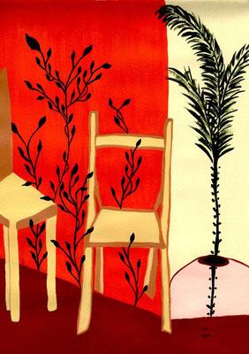 Salle d'attente Acrylique sur papier 21x30cm. Vendu - Sold