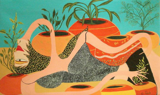 Nature Vivante Acrylique sur toile. 80x45cm Vendu - Sold