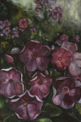 """""""Gartenlandschaft"""", Öl auf Rupfen, 120x80cm,  gerahmt, 2017"""