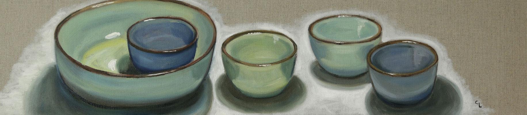 """""""Schalen in grün und blau, Öl auf Leinen, 20x100cm, 2020"""