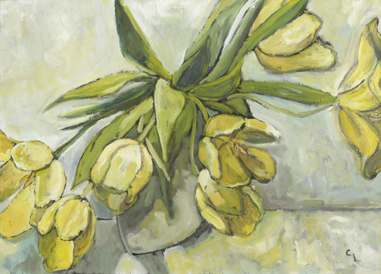 """""""Gelbe Tulpen"""", Öl auf Leinwand, gerahmt, 50x70cm, 2020"""