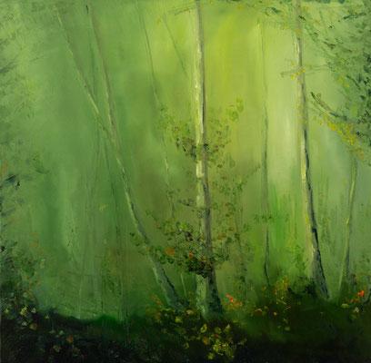 """""""Waldlicht"""", Öl auf Leinwand, 80x80cm, 2018"""